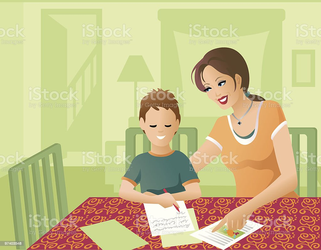 Stay-at-home Mom vector art illustration