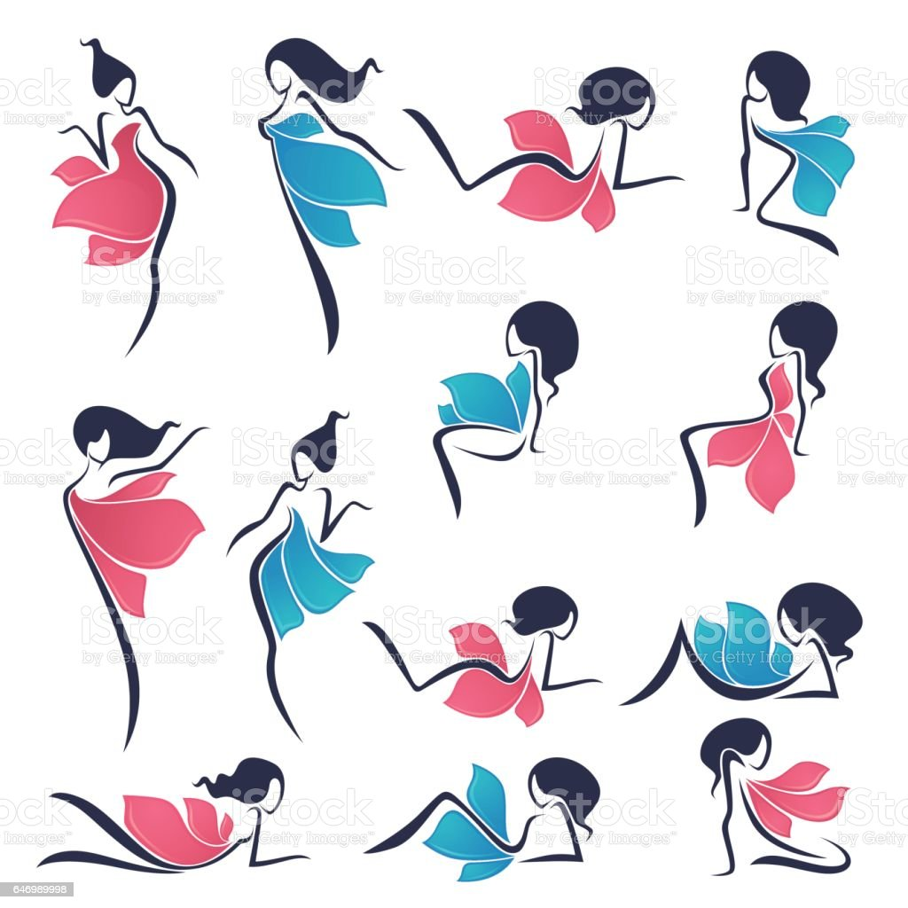 staying and sitting girls look like a bright flowers vector art illustration
