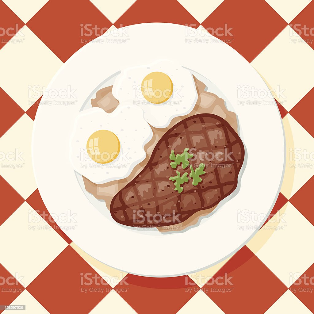 Steak and Eggs with Hash Browns vector art illustration