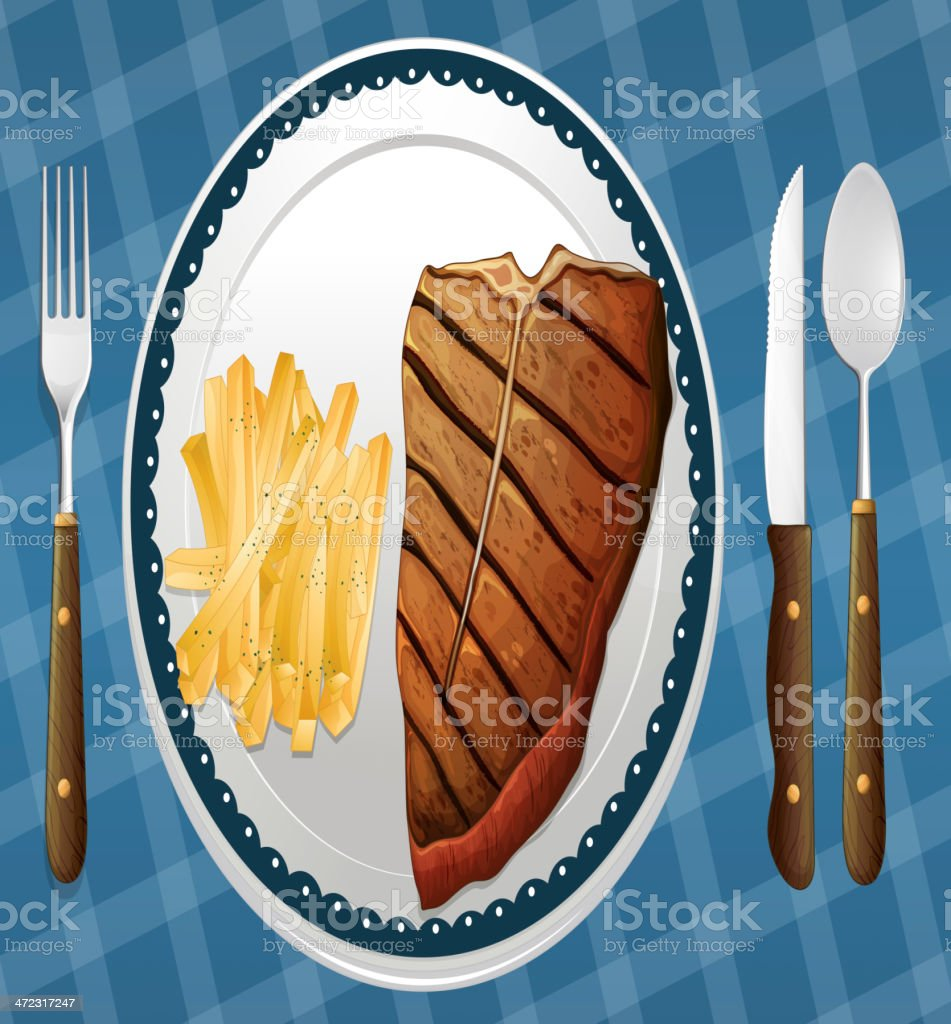 Steak and fries royalty-free stock vector art