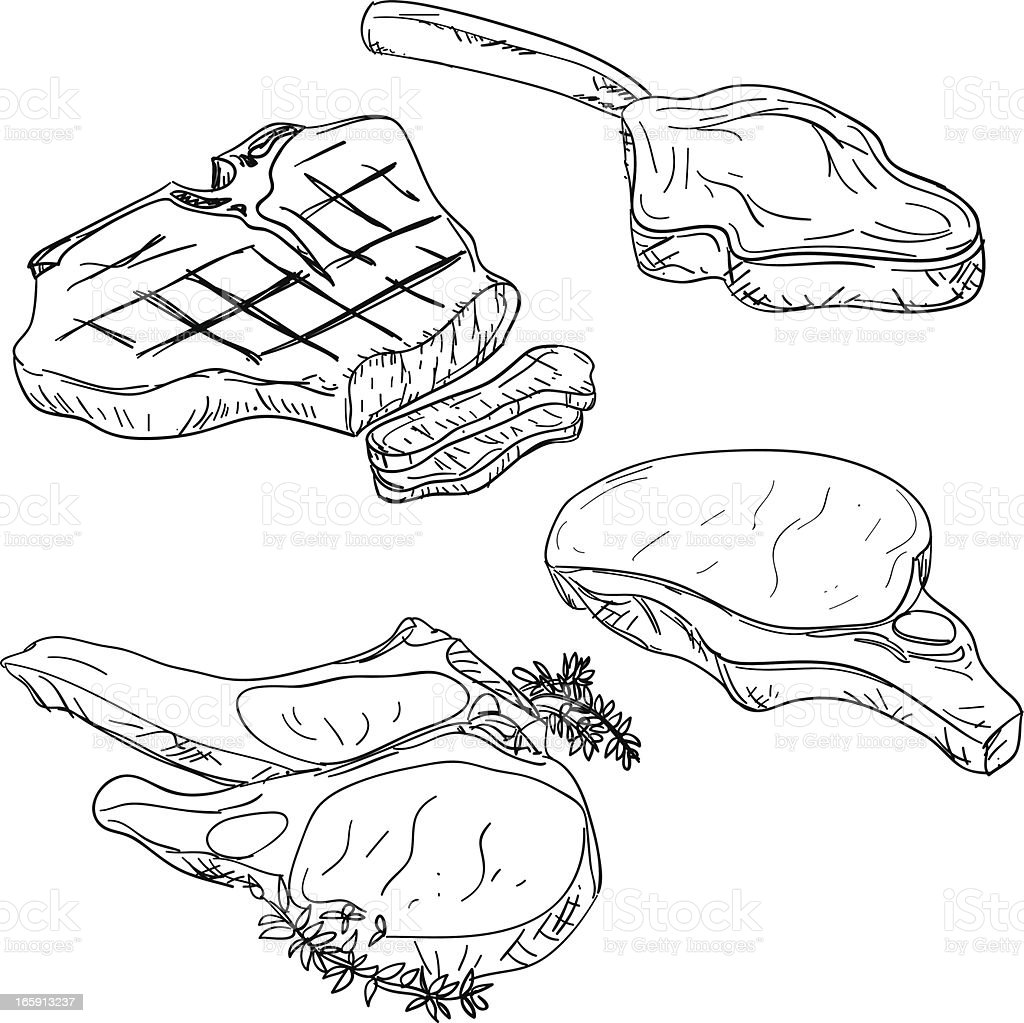 Steak and lamp chop in sketch style vector art illustration
