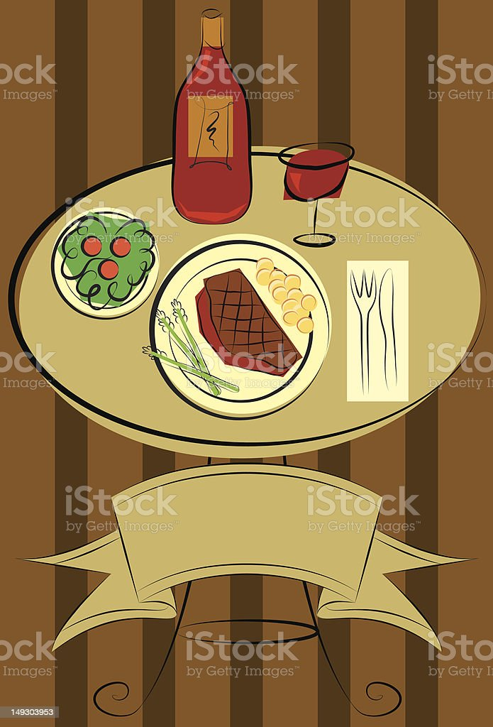steak and vegetables with red wine vector art illustration