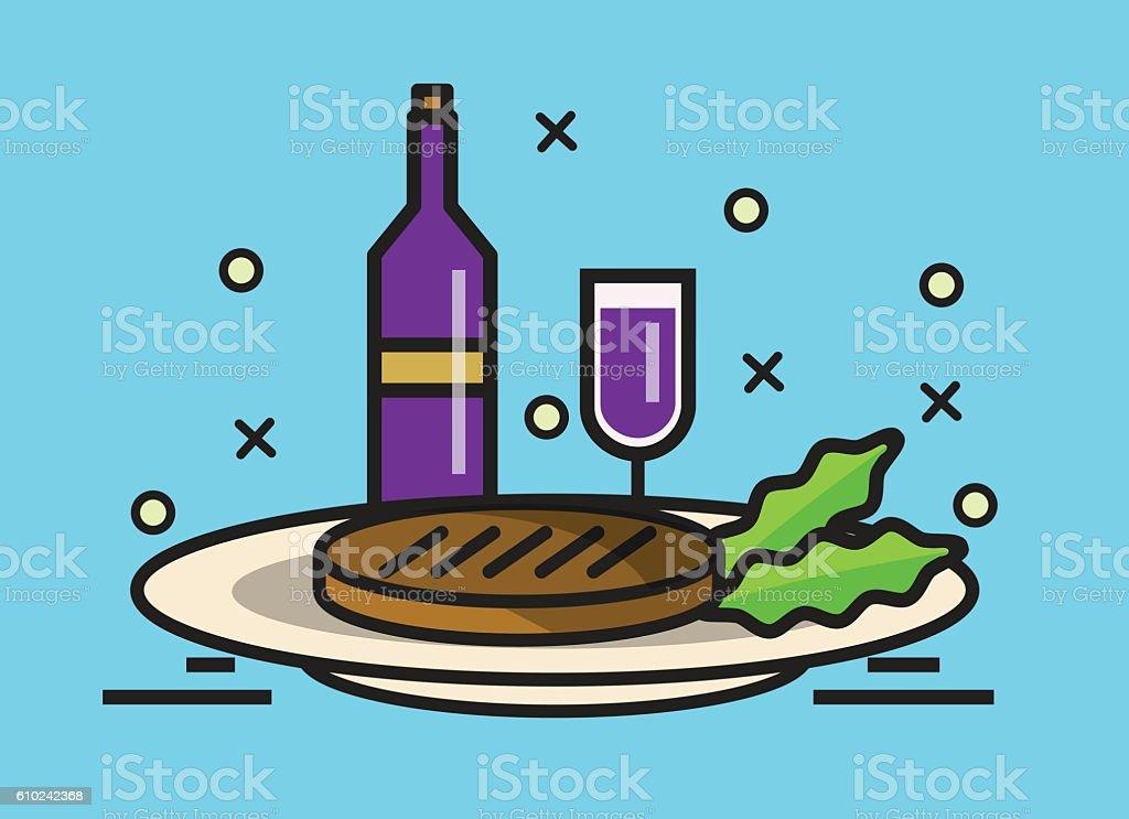 steak and wine. vector art illustration
