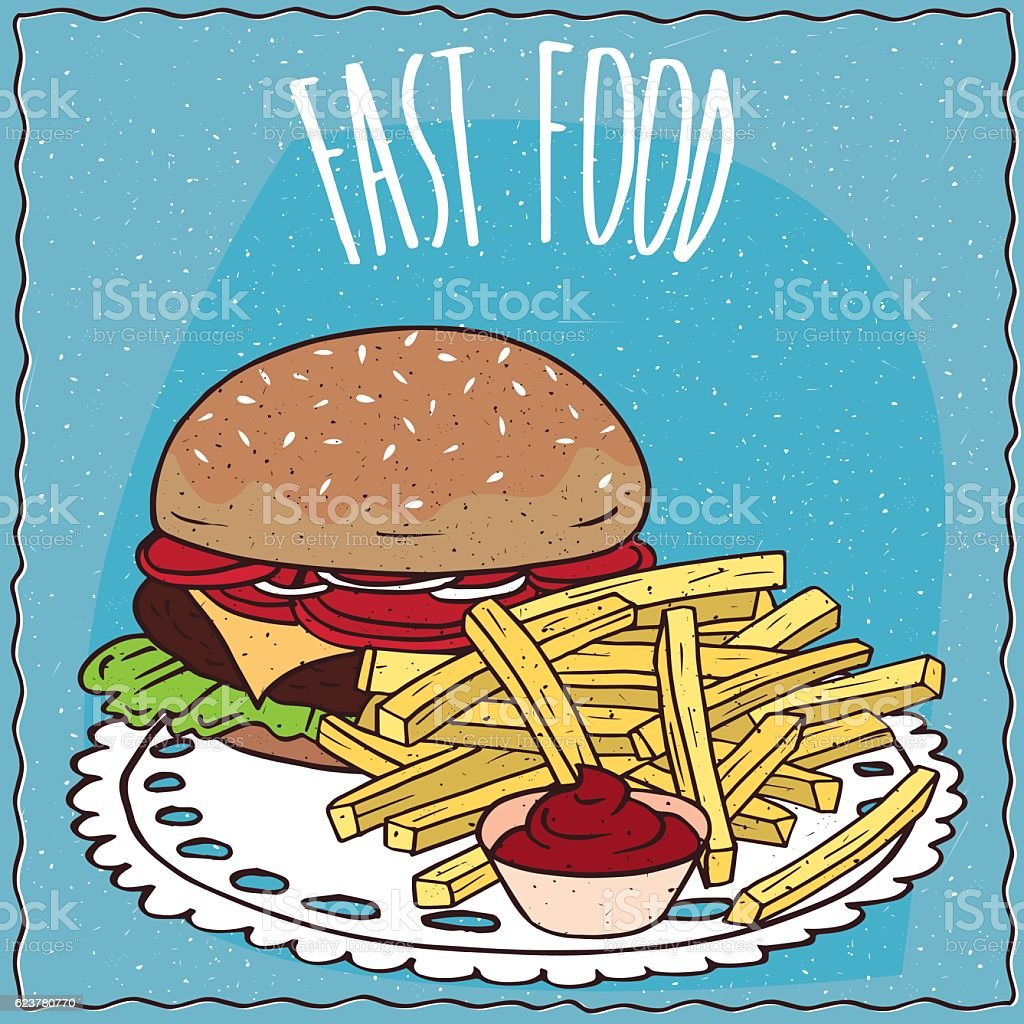 Steak burger and french fries with ketchup vector art illustration