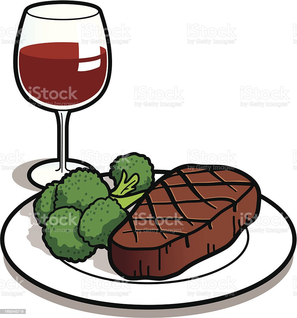 Steak Dinner vector art illustration