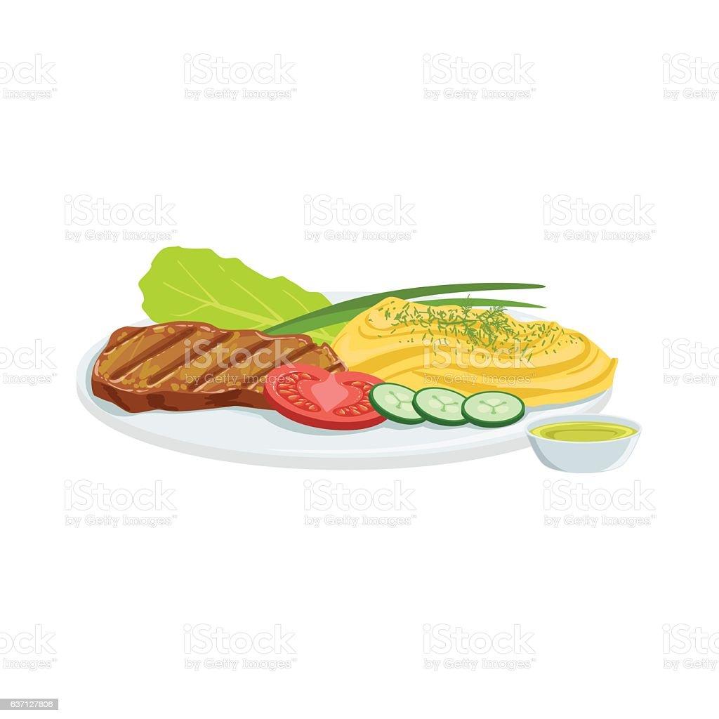 Steak European Cuisine Food Menu Item Detailed Illustration vector art illustration