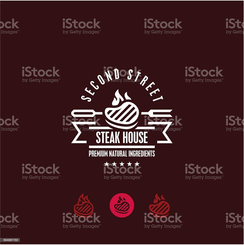 steak house logo, steak icon vector art illustration