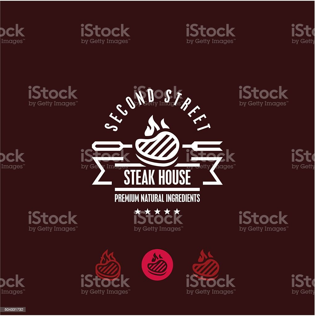 steak house logo, steak icon vector art illustration