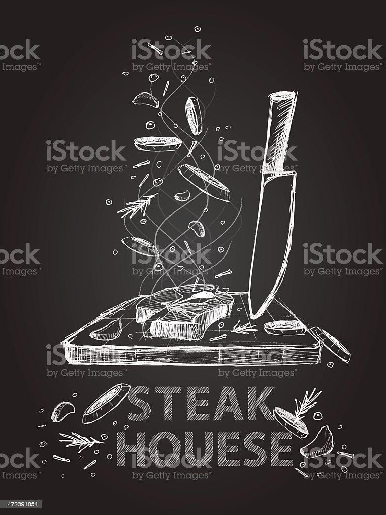 Steak house quotes illustration on chalkboard vector art illustration