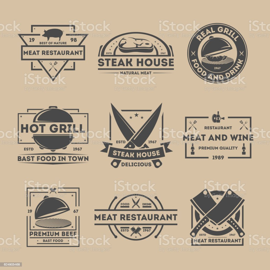 Steak house vintage isolated label set vector art illustration