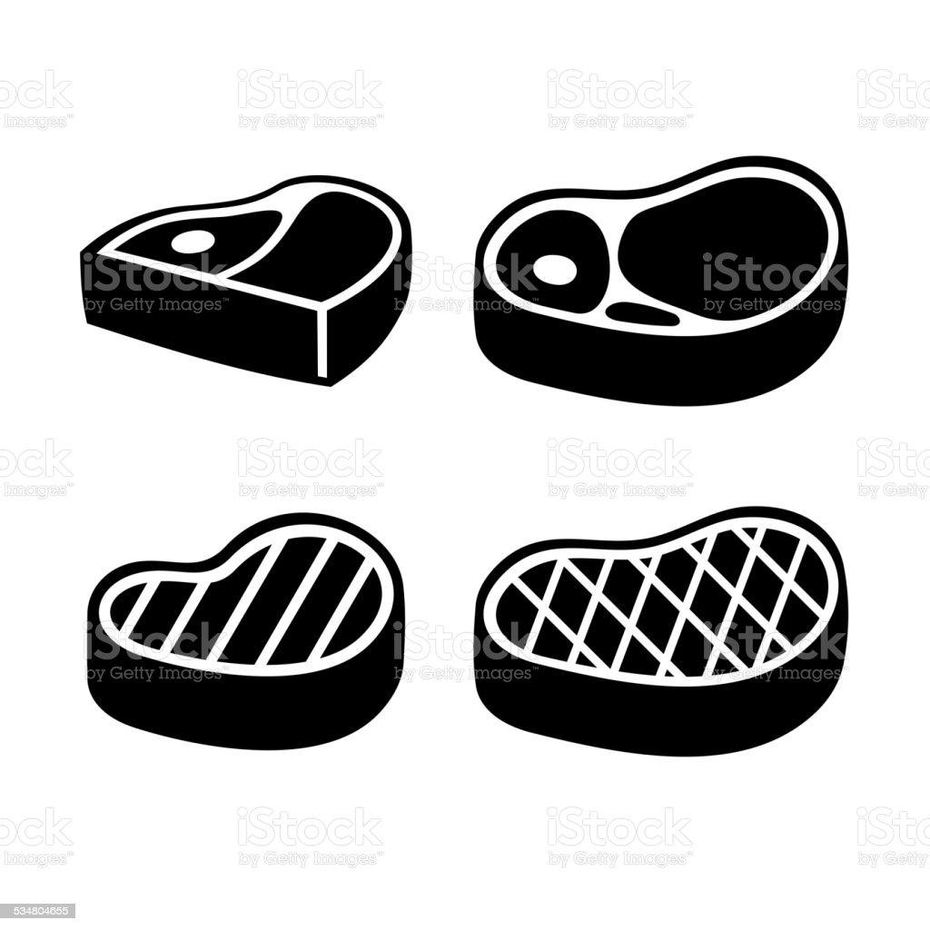 Steak Icons Set. Vector vector art illustration