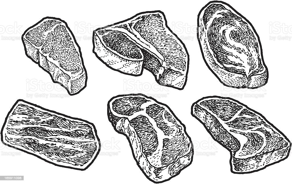 Steak, Meat, Beef, T-Bone, Sirloin vector art illustration