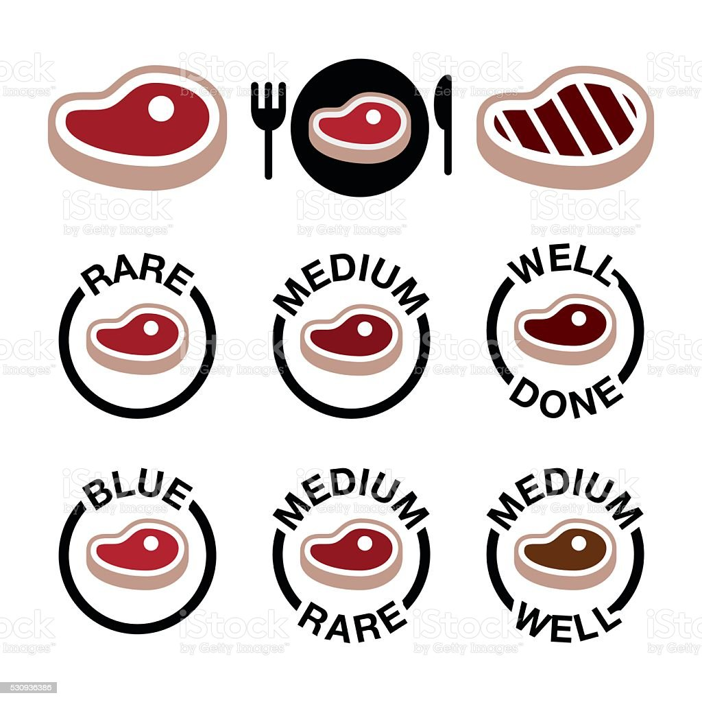 Steak - medium, rare, well done, grilled icons set vector art illustration