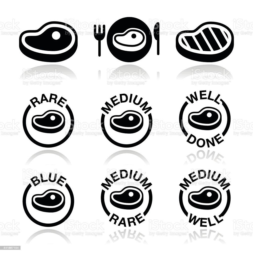 Steak - medium, rare, well done, grilled icons set vector art illustration