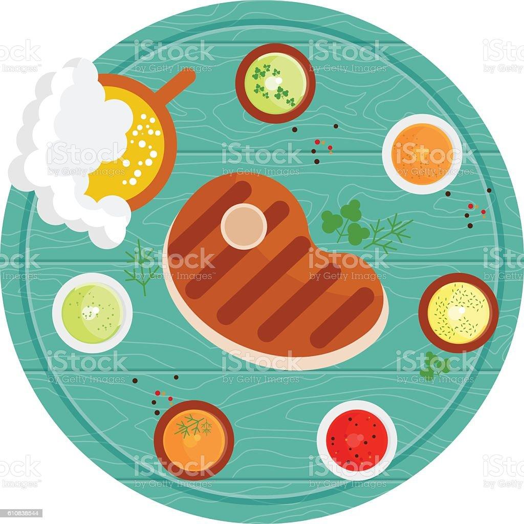 steak on wooden tray vector art illustration