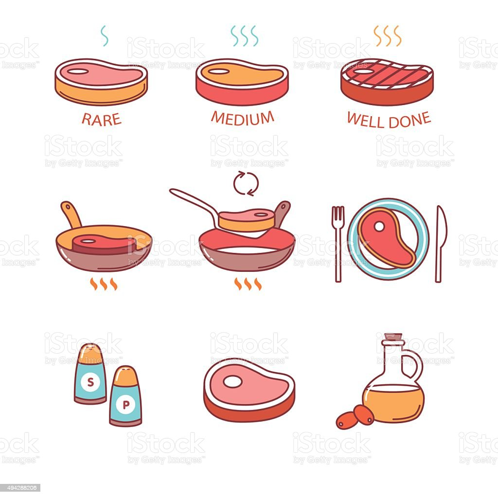 Steak pan frying and cooking, oil, salt, meat vector art illustration