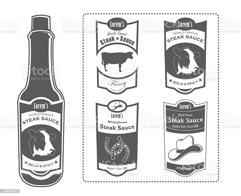 Steak Sauce Bottle with Labels vector art illustration