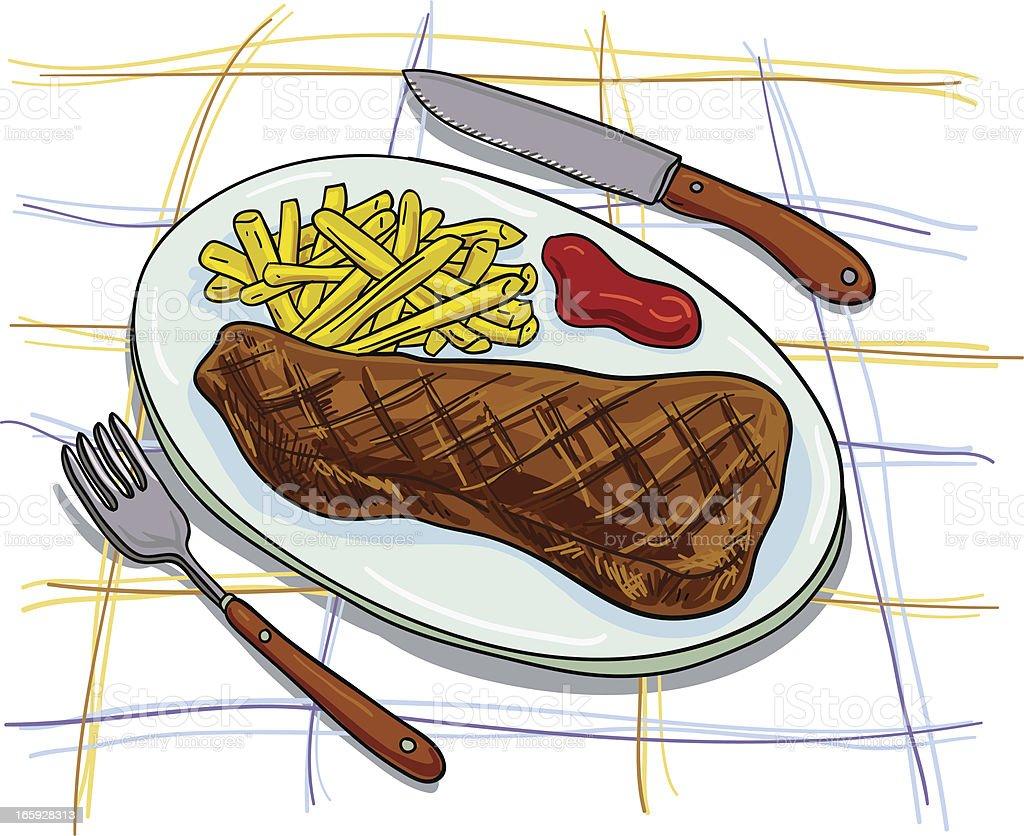 Steak set colourful illustration royalty-free stock vector art
