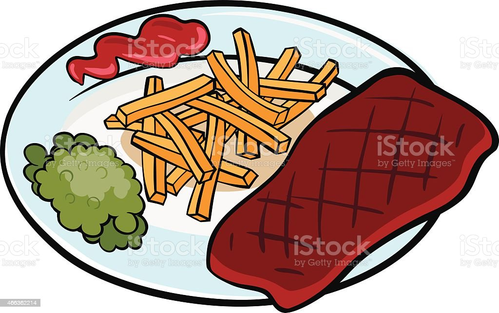Steak with french fries vector art illustration