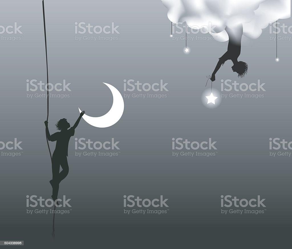 steal moon vector art illustration
