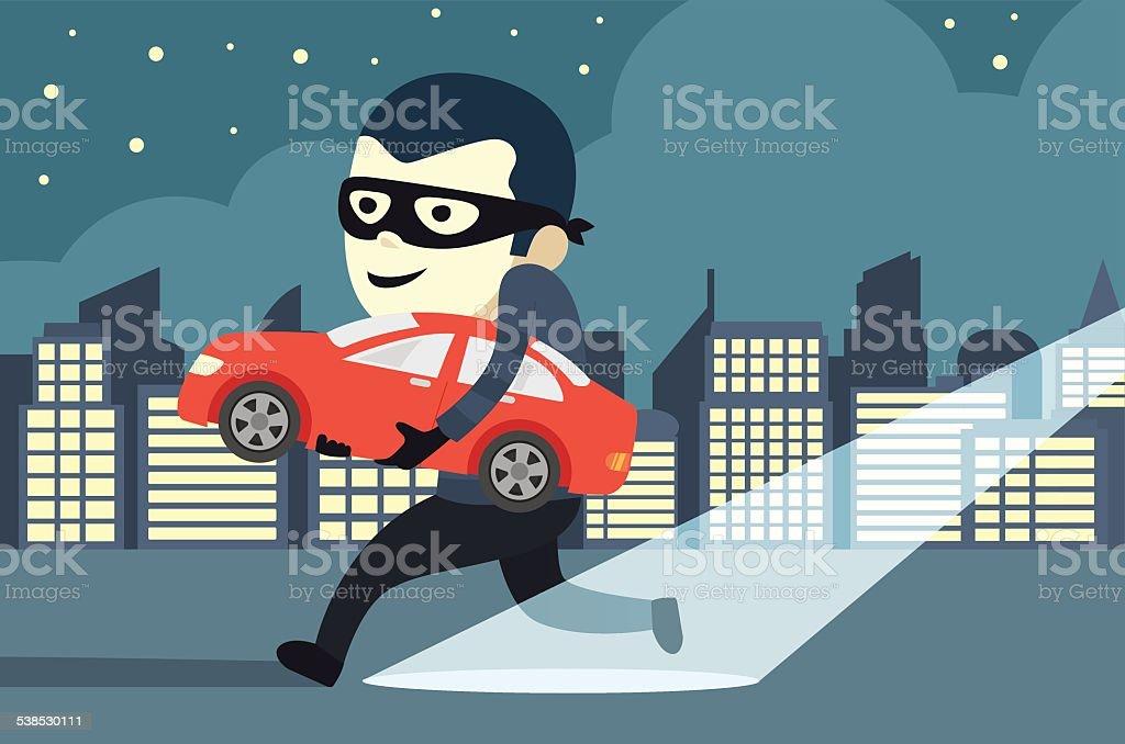 Stealing a car vector art illustration
