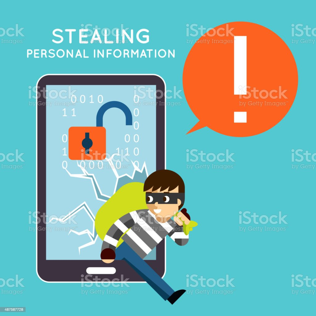 Stealing personal information from your mobile phone vector art illustration