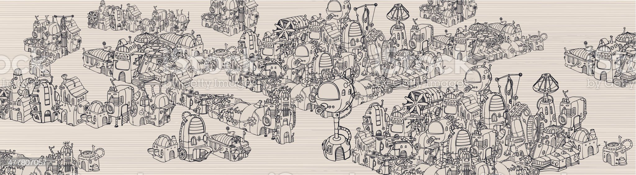 Steam city map. royalty-free stock vector art