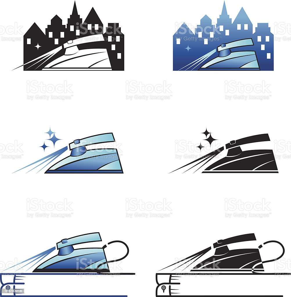 Steam Iron Cleaners Icons royalty-free stock vector art