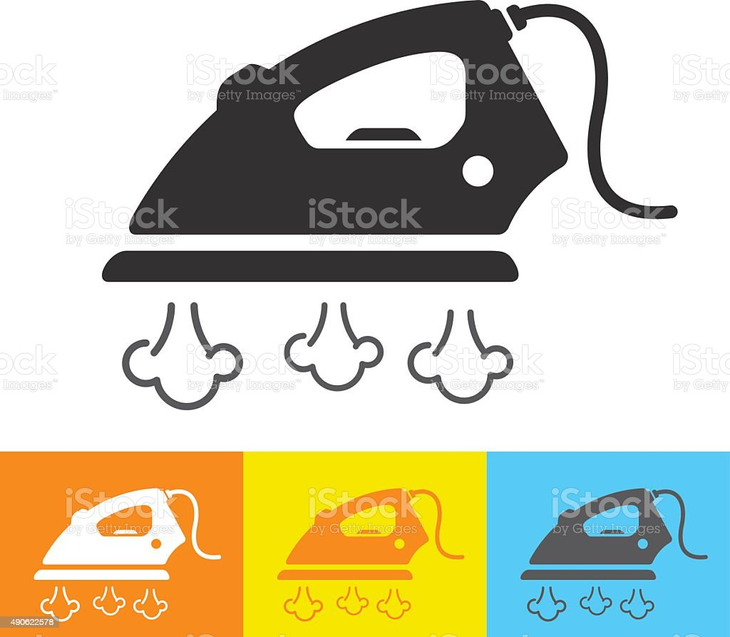 Steam iron icon vector art illustration