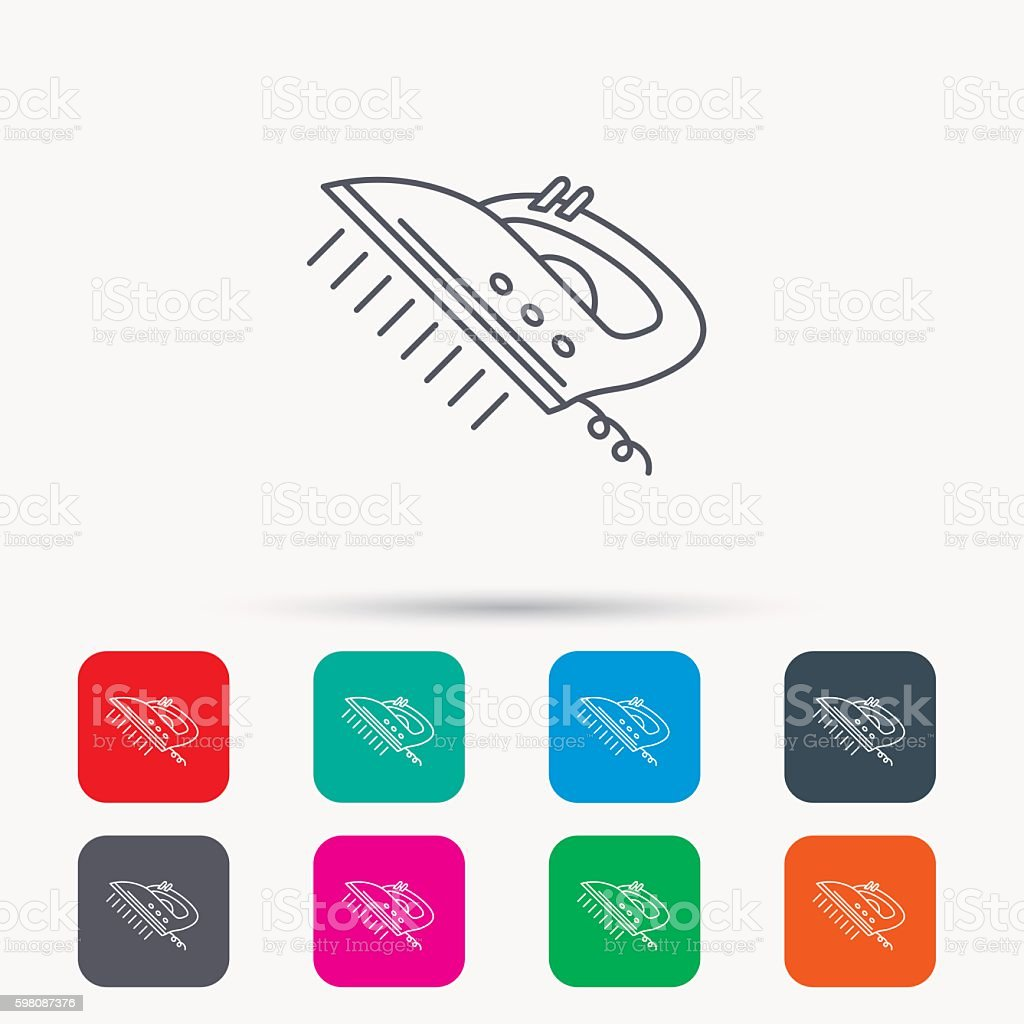 Steam ironing icon. Iron housework tool sign. vector art illustration