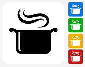 Steam Pot Icon Flat Graphic Design