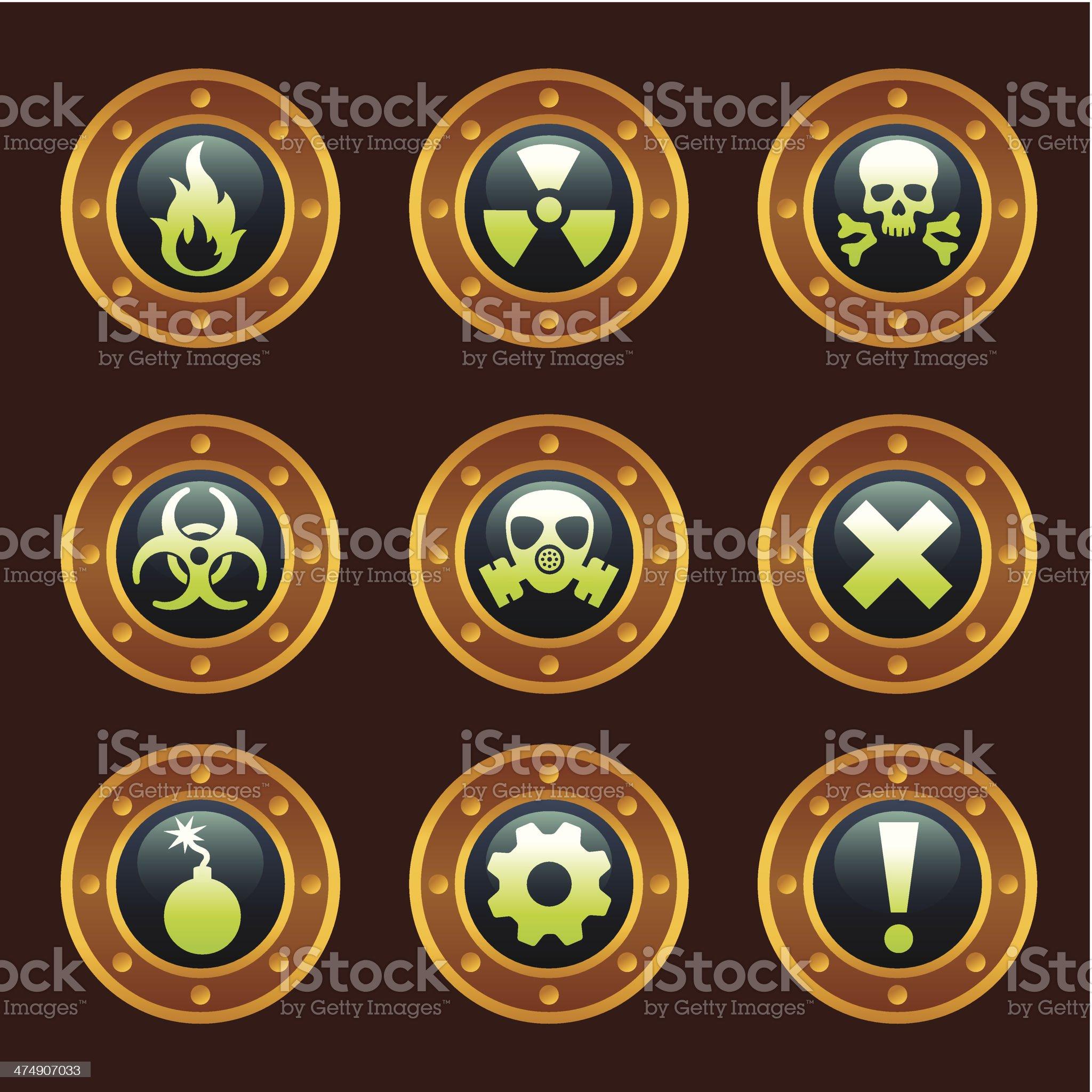 Steam punk danger signs royalty-free stock vector art