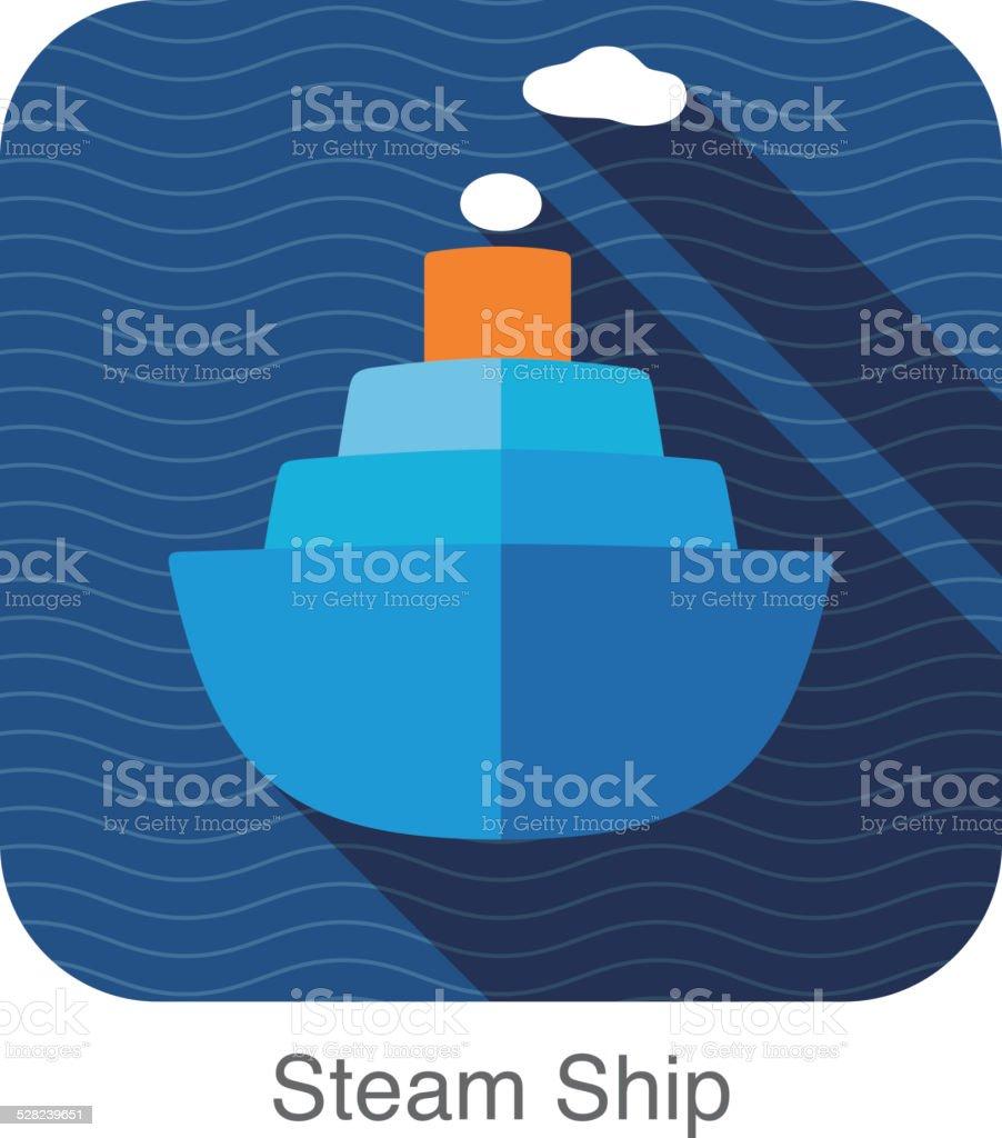 steam ship flat icon vector art illustration
