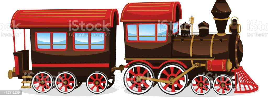 Steam train old vector art illustration