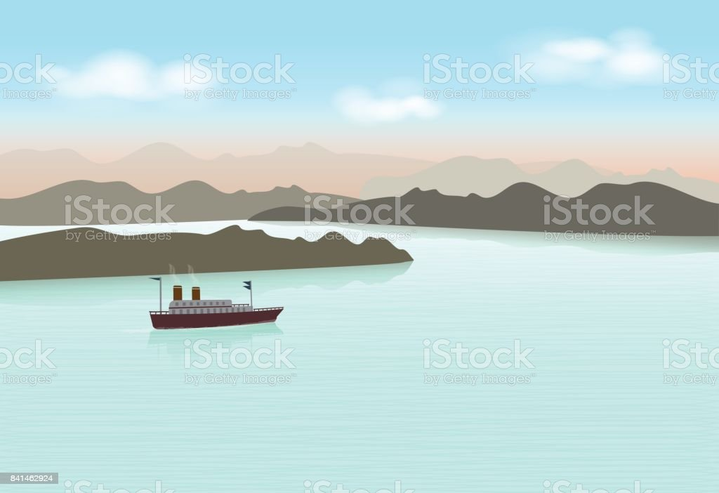 Steamboat sailing in the lake. Nature background vector art illustration