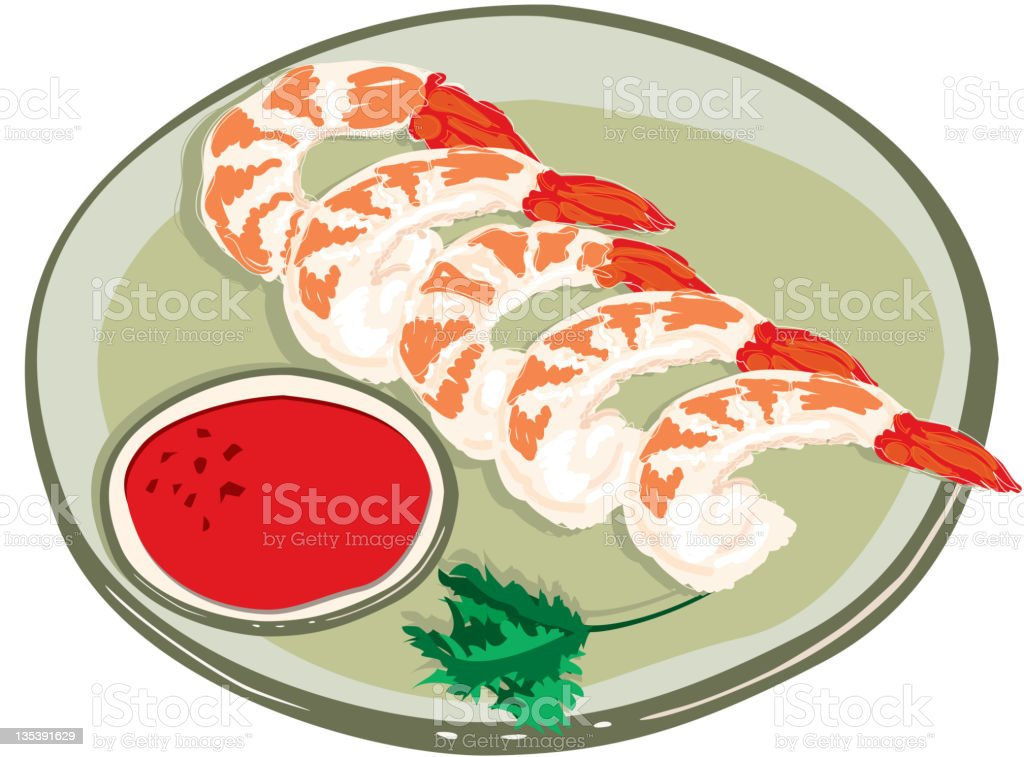 Steamed Shrimp and Cocktail Sauce, hand drawn royalty-free stock vector art