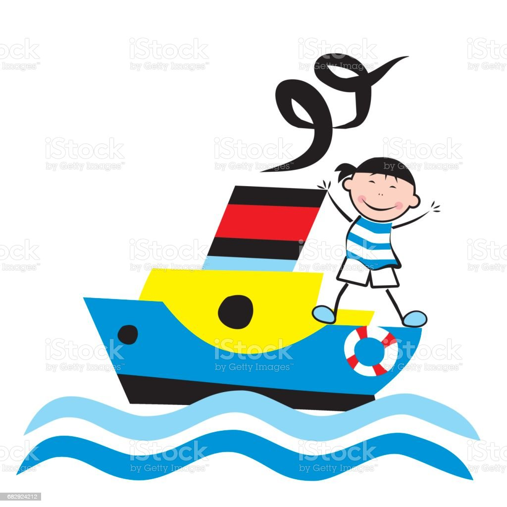 Sailor stock photos illustrations and vector art - Steamer And Sailor Royalty Free Stock Vector Art