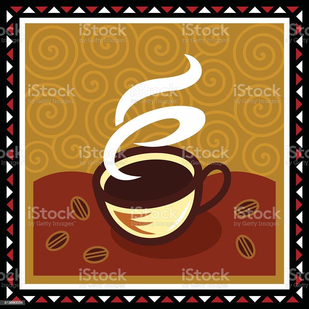 Steaming Coffee vector art illustration