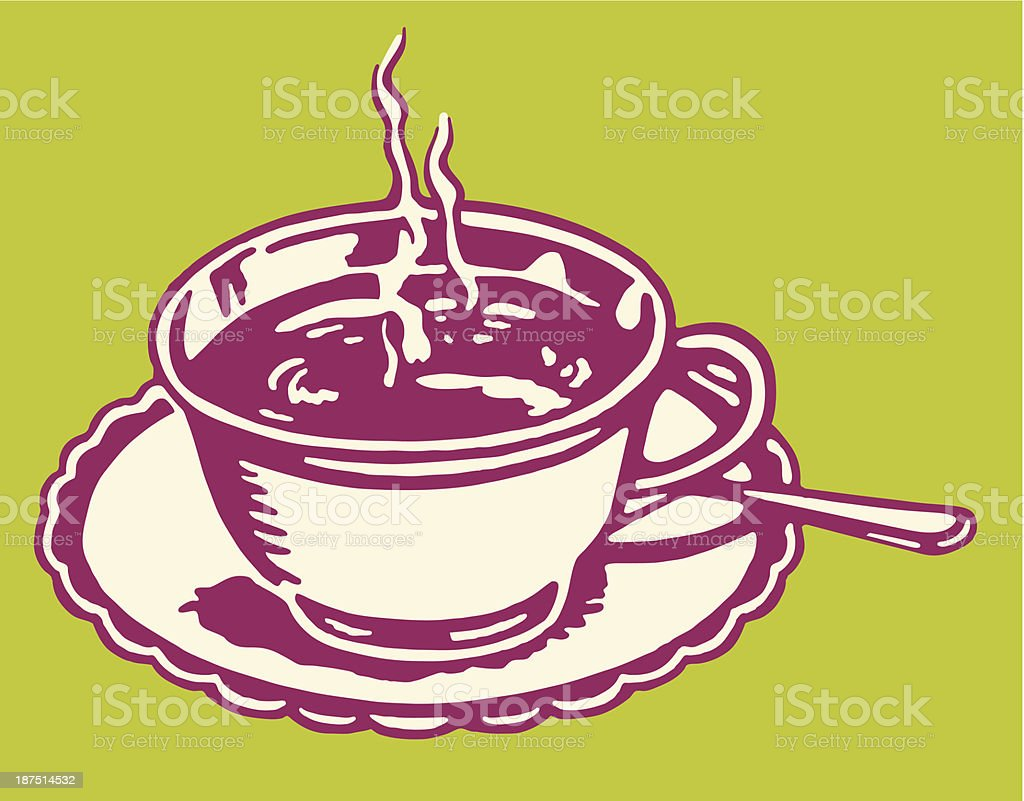 Steaming Hot Beverage in Cup on Saucer royalty-free stock vector art