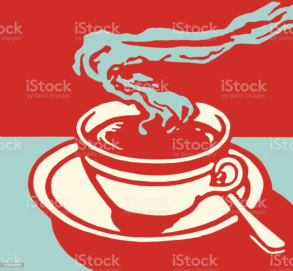 Steaming Hot Beverage in Cup on Saucer vector art illustration
