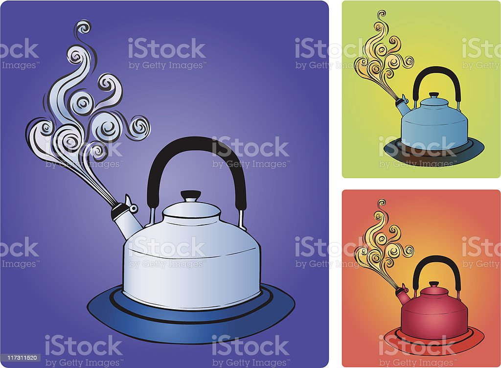 Steaming Tea Kettle royalty-free stock vector art
