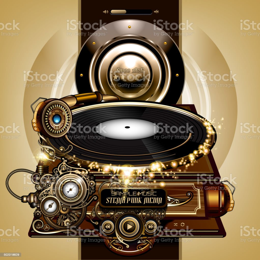 Steampunk concept gramophone vector art illustration