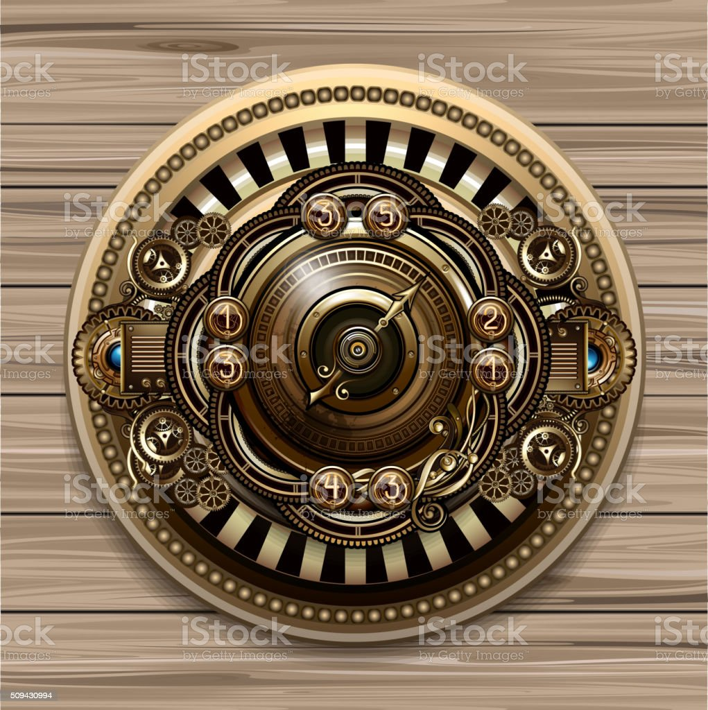 Steampunk conceptual background vector art illustration