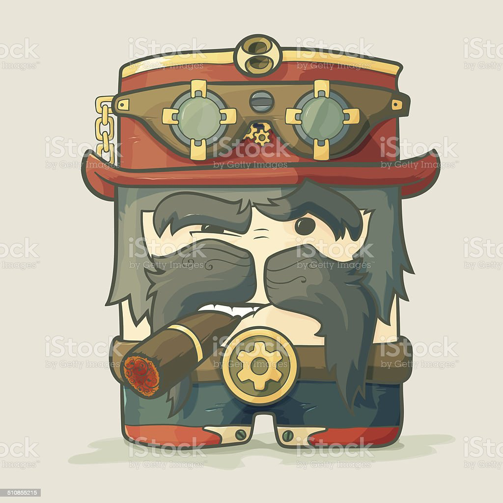 Steampunk dirigible pilot with goggles and hat, leather jacket vector art illustration