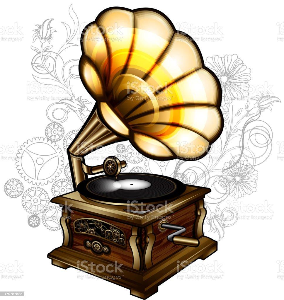 Steampunk gramophone royalty-free stock vector art