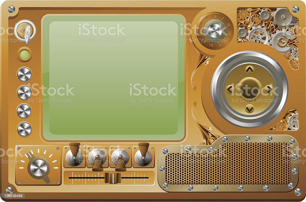 Steampunk grunge media player control panel skin royalty-free stock vector art