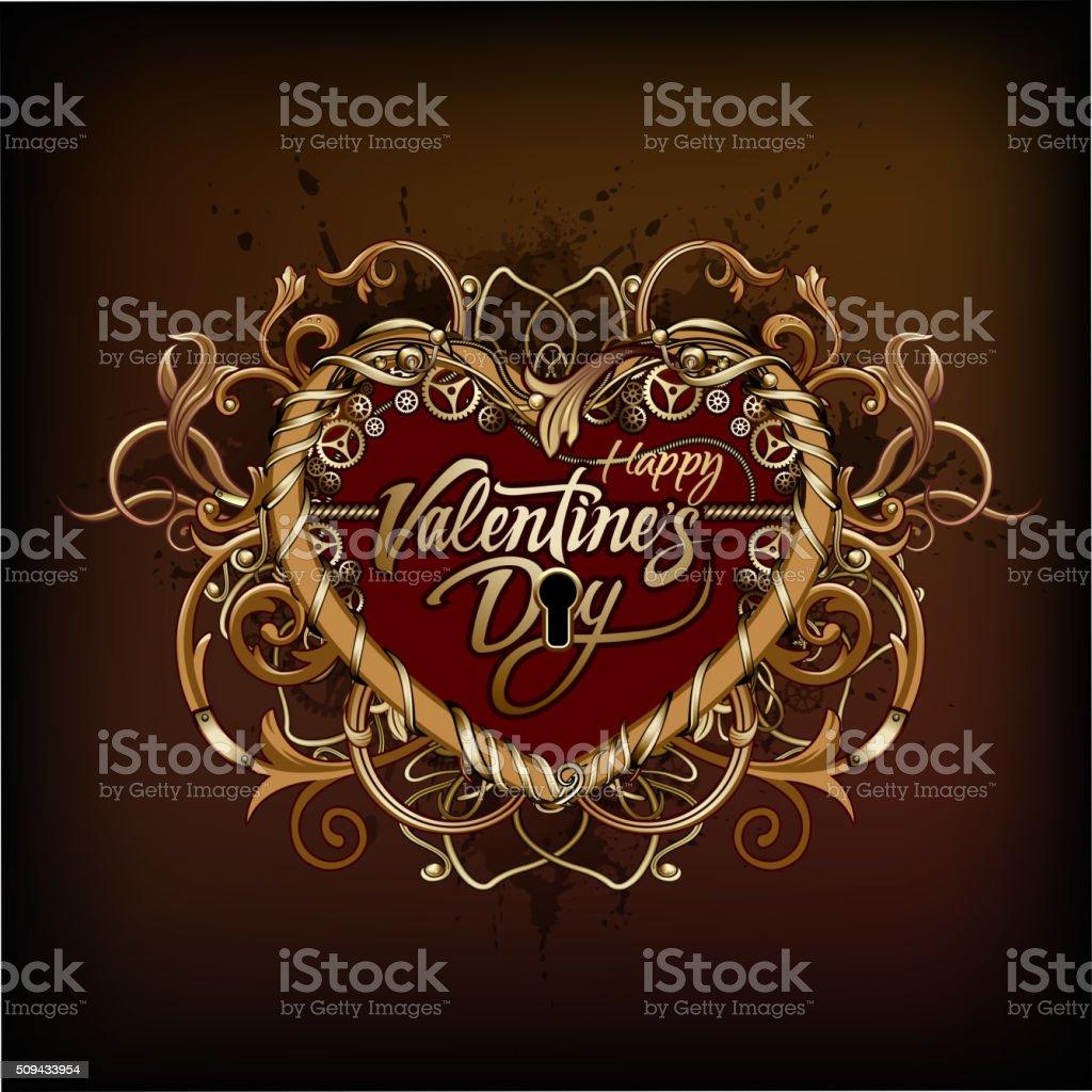 Steampunk Heart symbol vector art illustration
