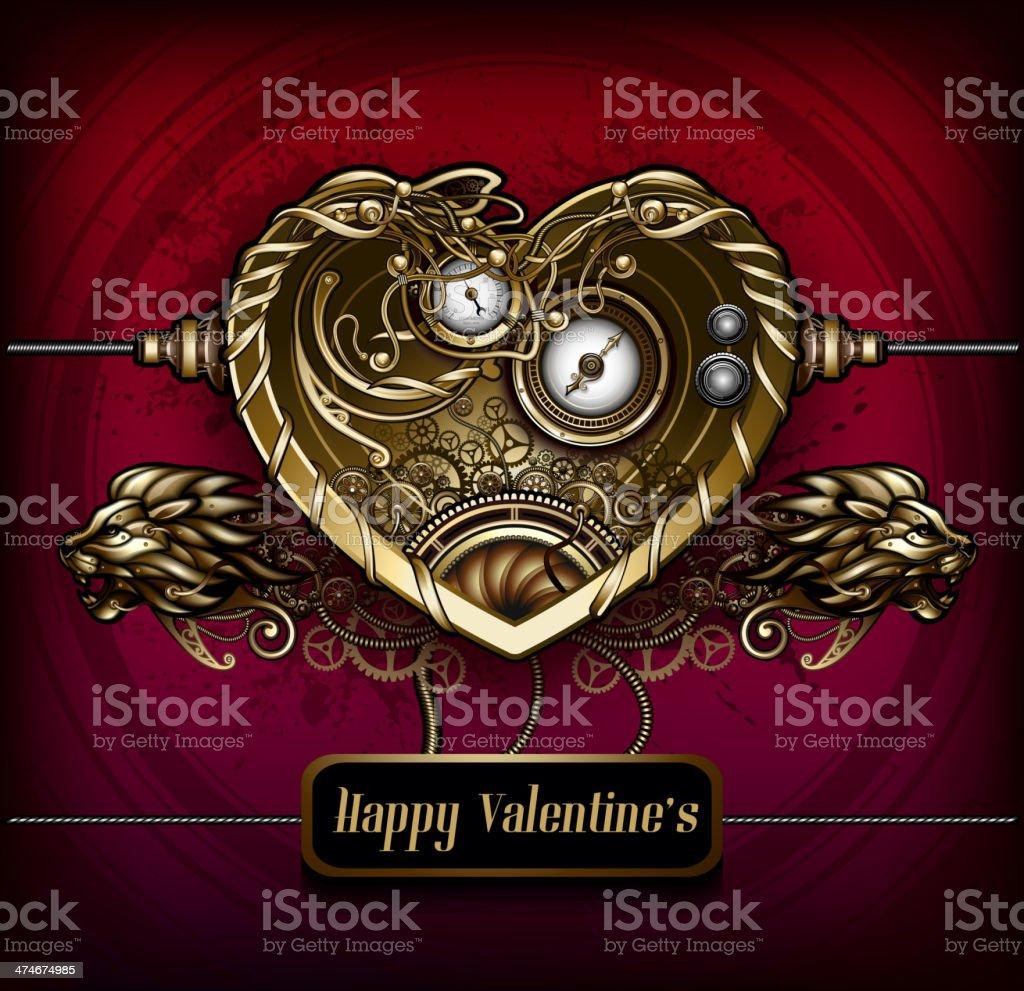 Steampunk Heart vector art illustration