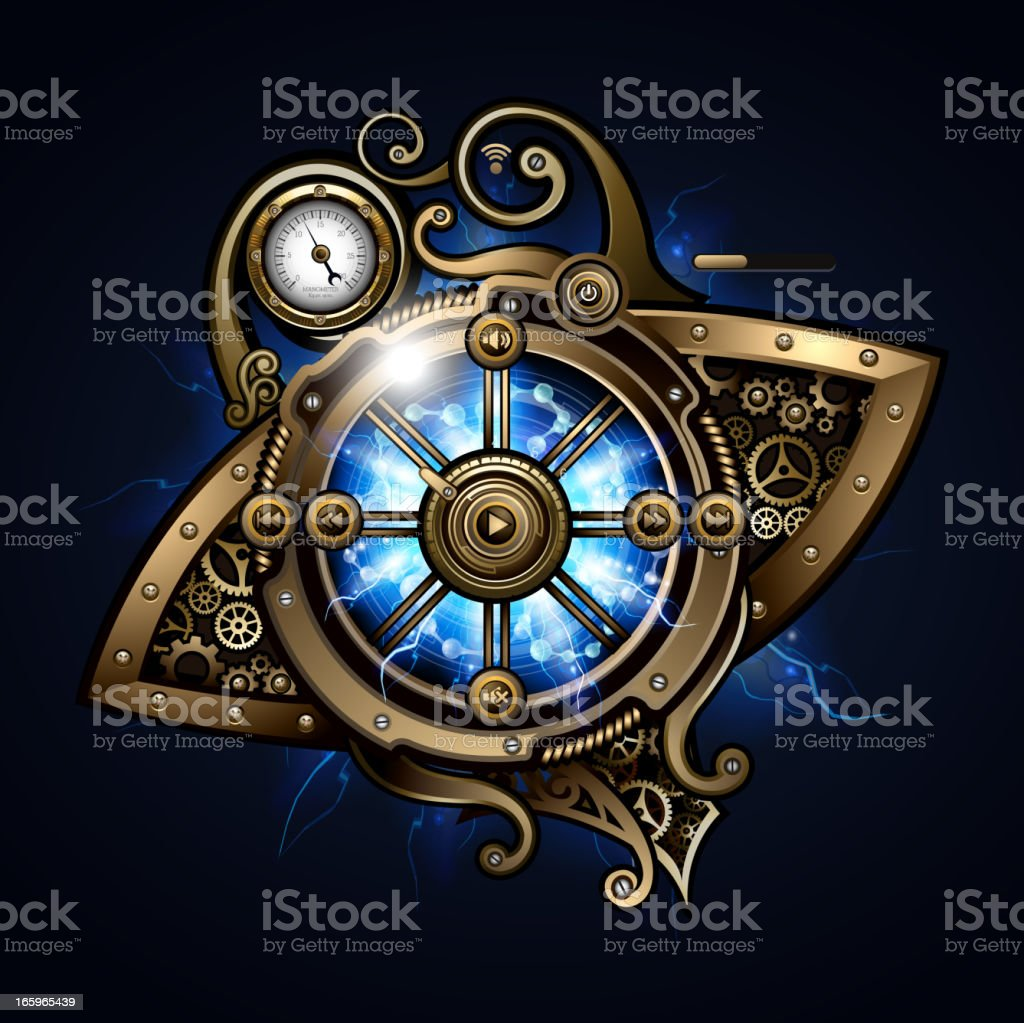 Steampunk mechanism interface vector art illustration