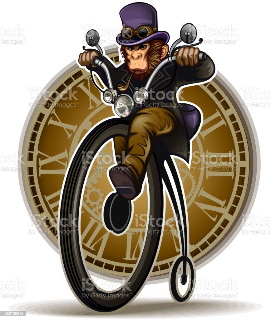 Steampunk Monkey vector art illustration